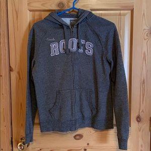 Roots original zip up hoody. Grey size small